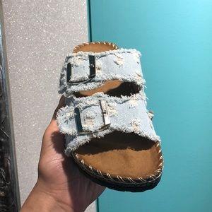 house of she Shoes - Light Blue Denim Comfy Sandals w/ Buckle